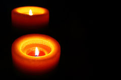 Orange Candle Reflecting In The Dark. With Mirror Candle Looks Like Very Romantic and Spiritual Royalty Free Stock Image