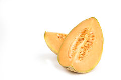 Orange canteloupe melon on white background.  Stock Photo