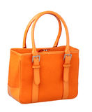 An orange canvas lady handbag Stock Photography