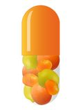Orange capsule with fruits Stock Photo
