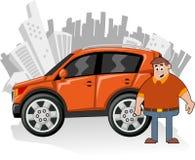 Orange car. Man and orange utility vehicle with city on background Royalty Free Stock Images
