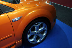 Orange car. In a motorshow Royalty Free Stock Photo