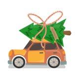 Orange Car with Christmas Tree on Top stock illustration