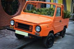 Orange car. Interesting Cafe decor Royalty Free Stock Photography