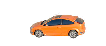 Orange car isolated Royalty Free Stock Photos