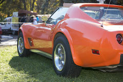 Orange car in the meadow - left view Stock Photography