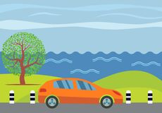 Orange car on the road against the backdrop of the sea. And green tree. Vector illustration Stock Photography