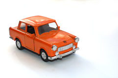 Orange car (toy). Scaled Traban. This car was, for many decades, one of the most popular car sold in East Germany Royalty Free Stock Photography