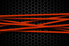 Orange carbon fiber frame on black mesh carbon background. Metal background and texture. 3d illustration material design Royalty Free Stock Photos