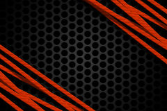 Orange carbon fiber frame on black mesh carbon background. Metal background and texture. 3d illustration material design Royalty Free Stock Photo