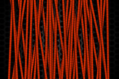 Orange carbon fiber frame on black mesh carbon background. Metal background and texture. 3d illustration material design Stock Photos