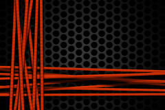 Orange carbon fiber frame on black mesh carbon background. Metal background and texture. 3d illustration material design Stock Photography