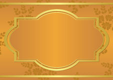 Orange card with golden frame - eps Stock Photography