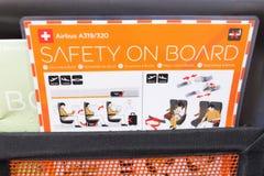 Hungary/Budapest-28.08.18 : Emmergency safety on board instruction card royalty free stock photos