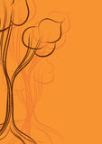 Orange card with trees Royalty Free Stock Photography