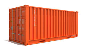 Orange Cargo Container Isolated on White. Royalty Free Stock Images