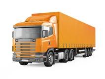 Orange cargo delivery truck. Royalty Free Stock Photos