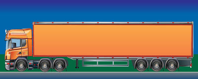 Orange Cargo Delivery Truck. Side view for the application of corporate design Vector Illustration