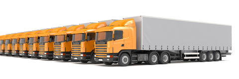 Orange cargo trucks parked in a row - shot 24 Royalty Free Stock Image