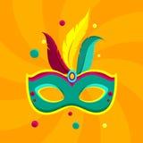 Orange carnival background with colour mask. Orange festive carnival background with bright colour mask. Vector illustration Stock Images