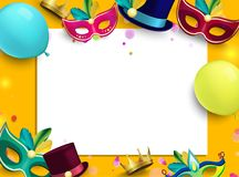 Orange carnival background with colour masks and balloons. Orange and white carnival background with colour masks and balloons. Vector paper illustration Royalty Free Stock Photography