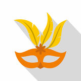 Orange carnival mask icon, flat style. Orange carnival mask icon. Flat illustration of carnival mask vector icon for web  on white background Stock Photography