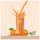 Orange carrot and apricot juice pouring into a glass. Healthy diet and refreshment concept Royalty Free Stock Photo