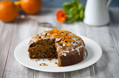 Orange and carrot cake. With icing Stock Photo