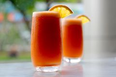 Orange and carrot juice Royalty Free Stock Images