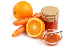 Orange and carrot jam Stock Images