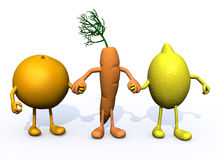 Orange, carrot and lemon with arms and legs Royalty Free Stock Image