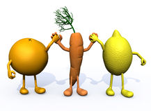 Orange, carrot and lemon with arms and legs Royalty Free Stock Photos