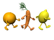 Orange, carrot and lemon that running Stock Images