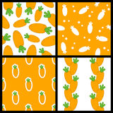 Orange Carrot Seamless Patterns Set Royalty Free Stock Images