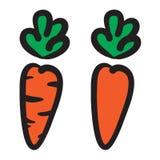 2 orange carrots vector illustration icons. 2 orange carrots vector illustration icons Stock Photography