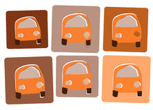 Orange cars2. Cute orange busses in 70s style Royalty Free Stock Images