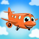 Orange cartoon airplane stock image