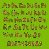 Orange cartoon alphabet for children Royalty Free Stock Image