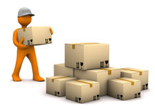 Mail-Order. Orange cartoon characer with parcels. White background Stock Photo