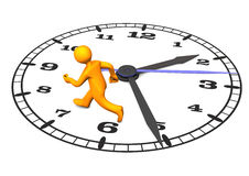 Manikin Stress. Orange cartoon character on the big clock. 3d illustration with white background Stock Photos