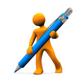 Manikin Big Ballpen. Orange cartoon character with blue ballpen. White background Stock Image