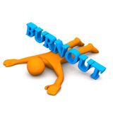 Burnout. Orange cartoon character with blue text burnout Royalty Free Stock Photo