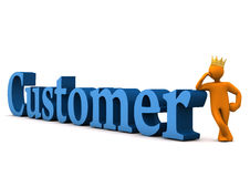 Customer With Crown. Orange cartoon character with golden crown and blue text customer Royalty Free Stock Image