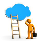 Cloud Businessman Ladder. Orange cartoon character with ladder and cloud on the white background Royalty Free Stock Images
