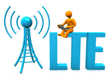 LTE Manikin. Orange cartoon character with laptop, antenna and blue text LTE Royalty Free Stock Image