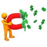 Mainikin Dollars Magnet. Orange cartoon character with magnet and dollar symbols Royalty Free Stock Photos