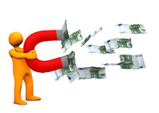 Manikin Magnet Money. Orange cartoon character with magnet and euro notes Royalty Free Stock Images