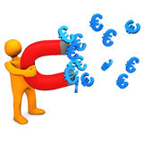 Mainikin Euro Magnet. Orange cartoon character with magnet and euro symbols Royalty Free Stock Photography