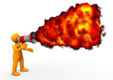 Blog Fire. Orange cartoon character with megaphone and fire Stock Photography