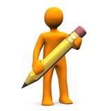 Manikin With Pencil Stock Photo